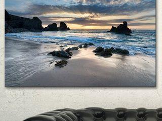 Designart  Beautiful Porthcothan Bay  Modern Seashore Canvas Wall Art Print 46 in  Wide x 36 in  High  Blue  Retail 185 99