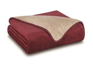 All Seasons Reversible Plush Blanket or Throw  Burgundy