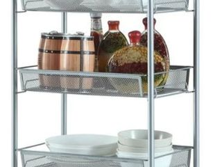 Honeycomb Mesh Style Four layers Removable Kitchen Storage Cart Silver