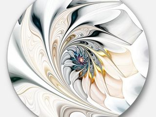 Designart  White Stained Glass Floral Art  Floral Circle Metal Wall Art  Retail 102 49  Small Dents On Edge