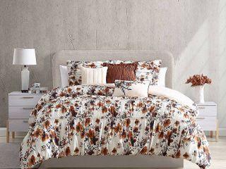 Modern Threads Francesca 6 Piece Printed Textured King Comforter Set  Retail 75 48