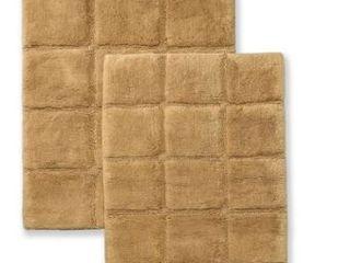 Miranda Haus Cotton Checkers 2 piece Non skid Bath Rug