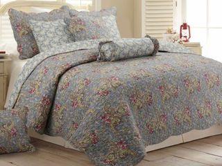 Copper Grove Anthurium Floral Paisley Cotton 3 piece King Quilt Set  Retail 84 99