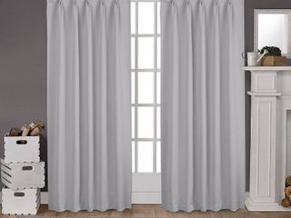 Sateen Twill Woven Blackout Pinch Pleat Window Curtain Panel Pair Silver 52  x 63    Exclusive Home