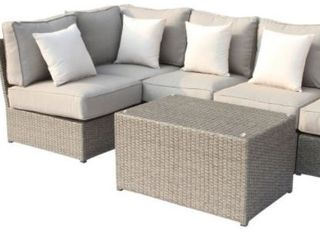 Chelsea Grey Wicker Sectional Sofa with Glass Ottoman  Stock Photo May Differ Slightly from Actual Item  Corner Chair Uneven  See Pictures