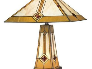 Tiffany Style Golden Mission Table lamp with lit Base   Gold  Retail 131 99