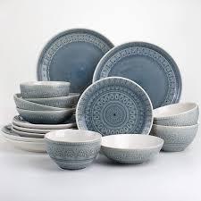 Euro Ceramica Fez 16 Piece Crackle Glaze Double Bowl Dinnerware Set  Retail 93 99 grey