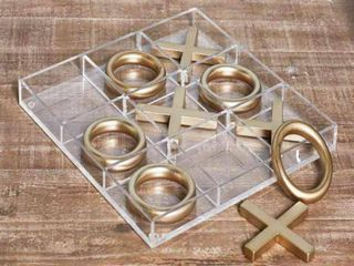 12  Modern Acrylic and Iron Tic Tac Toe Set Gold   Olivia   May