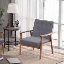 Retro Modern Wooden Single Accent Chair Grey Fabric Cushion Retail 133 49 grey
