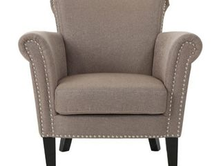 Brice Vintage Scroll Arm Studded Fabric Club Chair by Christopher Knight Home  Retail 222 49
