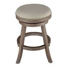 The Gray Barn McNiven Fabric and Driftwood Backless Swivel Counter Stool  Retail 119 49