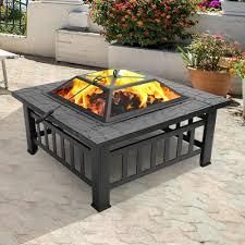 32 inch Metal Portable Courtyard Fire Pit with Accessories  Retail 124 99 black