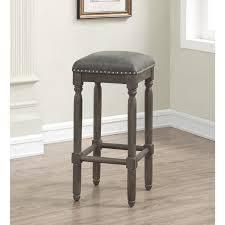 Copper Grove Sherwood 30 inch Grey leather and Wood Backless Bar Stool  Retail 88 99