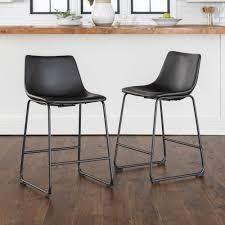 Carbon loft Prusiner Black Faux leather Counter Stools  Set of 2  Retail 168 41 black