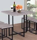 Porch   Den Penn Wood  Steel dining table only square light grey wood grain color