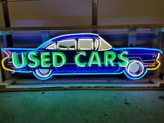 USED CARS tin neon sign  24 x 72in