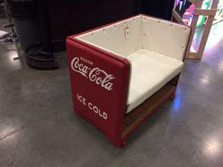 Coca Cola bench made from old cooler