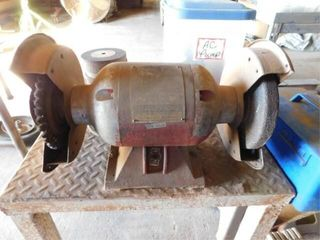 Bench grinder w steel table  24  x 30  x 32  tall