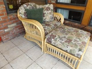 Woven Chair  Ottoman with Cushions
