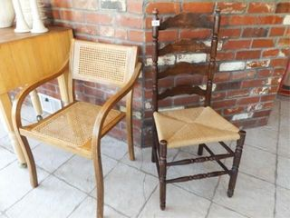 Chairs   Woven Bottom  ladder Back  2