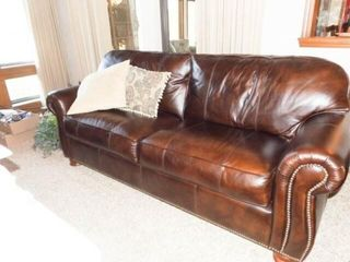 Thomasville leather Couch  2 Pillows