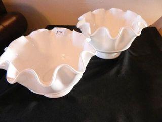 White Serving Bowls  Scalloped Edge