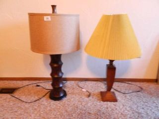 Wooden Table lamps  2  with shades