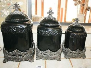 Black Canister Set with Resin Bases