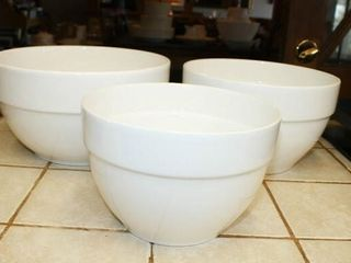 White Mixing Bowl Set Marked  Portugal