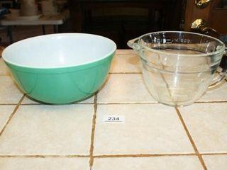 Pyrex Bowl  Green 2 5 qt  Clear Mixing Bowl