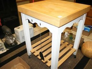 Rolling Kitchen Island with wooden top