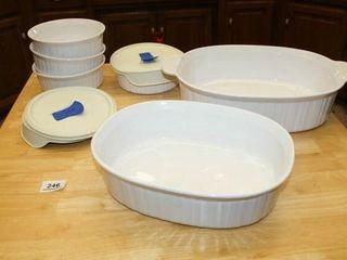 White Corningware Casserole Dishes Bowls