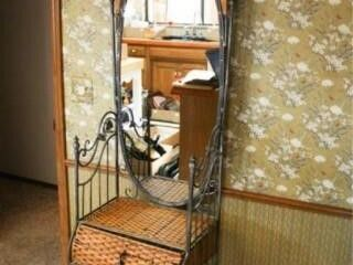 Pewter Wicker small Hall Tree with Mirror