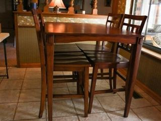 Tall Bistro Table with 4 Barstools  wood seats