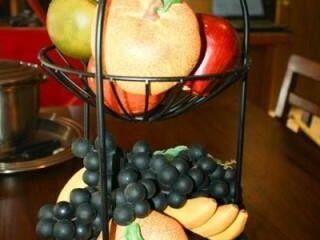Metal Basket with Decorative Fruit