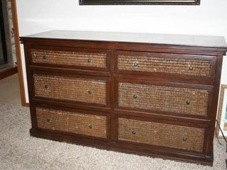 Dresser  Drawers on slides  Wicker accents