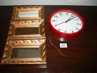 Gold Mirrors  3  Red Round Clock