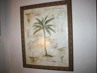 Framed Print Palm Tree with Gold like frame