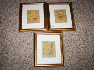 Floral Framed Prints  3  Gold like frames