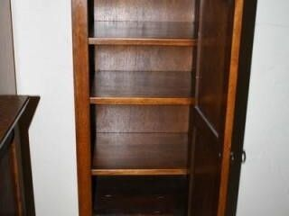 Tall Skinny Storage Cabinet  Glass on top