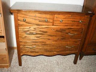 Tiger Oak Dresser with Gold tone Drawer pulls