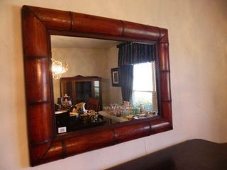 Wall Mirror w Bamboo look Frame