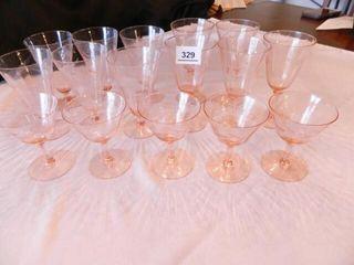Pink Glass Stemmed Glasses   16