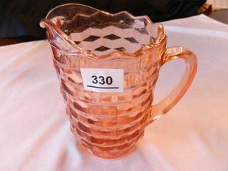 Pink Glass Pitcher  Cubist Pattern