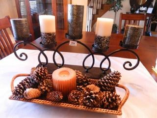 Metal Candle Holder w 5 Candles