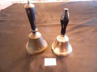 School Bells   2  Wooden Handles
