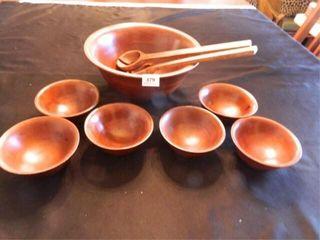 Wooden Bowl Set  large Bowl