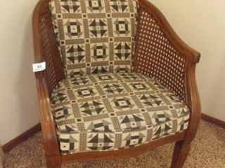 Upholstered Chair  Woven Sides