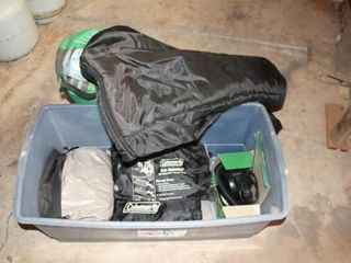 Container with 2 Sleeping Bags  2 Air Mattresses