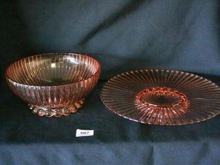 Pink Glass Bowl and Platter  No chips cracks